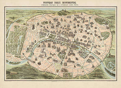 Antique Tourist Map Of Paris France By Garnier - Circa 1860 Poster