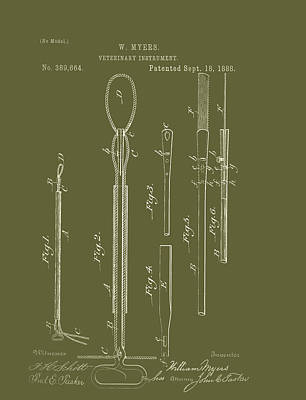 Antique Veterinary Instrument Patent 1888 Poster by Mountain Dreams