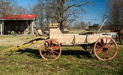 Antique Wagon And Mountain Cabin 1 Poster by Douglas Barnett
