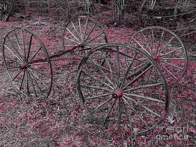 Poster featuring the photograph Antique Wagon Wheels by Sherman Perry