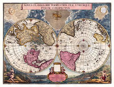 Poster featuring the photograph Antique World Map 1695 Novus Planiglobii Terrestris Per Utrumque Polum Conspectus by Karon Melillo DeVega