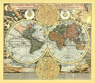 Antique World Mercator Map Poster by Gary Grayson