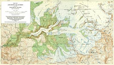 Antique Yosemite National Park Map Poster