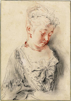 Antoine Watteau, Seated Woman Looking Poster by Quint Lox