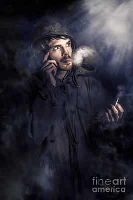 Anxious Australian Sas Soldier On Night Watch Poster
