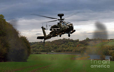 Apache In The Field Poster