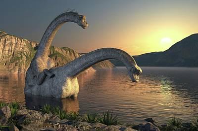 Apatosaurus Dinosaurs Mating Poster by Roger Harris