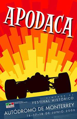 Apodaca Monterrey Historic Vintage Festival Poster by Georgia Fowler