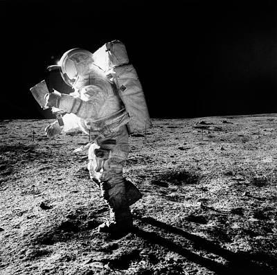Apollo 14 Astronaut On The Moon Poster by Nasa/detlev Van Ravenswaay