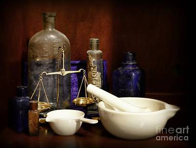 Apothecary - Mortar Pestle And Scales Poster by Paul Ward