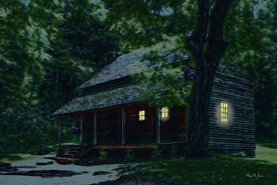 Rustic Home - Smoky Mountain Cabin Lights Poster by Barry Jones