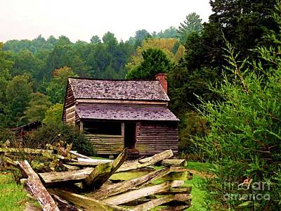 Appalachian Cabin With Fence Poster by Desiree Paquette
