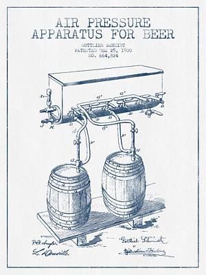 Apparatus For Beer Patent From 1900 -  Blue Ink Poster by Aged Pixel