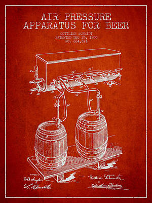 Apparatus For Beer Patent From 1900 - Red Poster by Aged Pixel