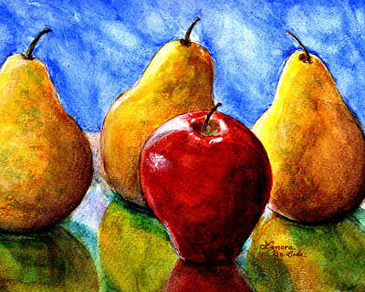 Poster featuring the painting Apple And Three Pears Still Life by Lenora  De Lude
