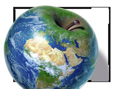 Apple As The Earth Poster
