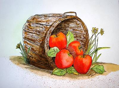 Apple Basket Poster by June Holwell