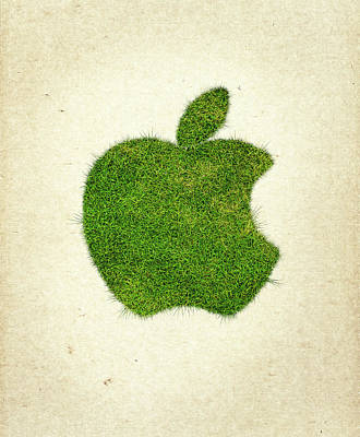 Apple Grass Logo Poster by Aged Pixel