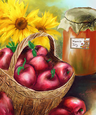 Poster featuring the digital art Apple Harvest by Mary Almond