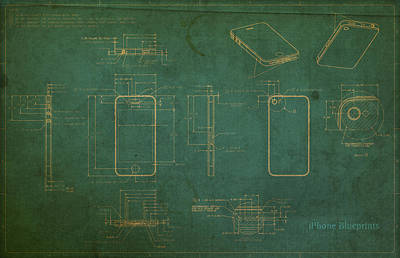Apple Iphone Vintage Retro Blueprints Plans On Worn Distressed Canvas Poster by Design Turnpike