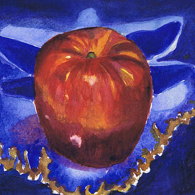 Poster featuring the painting Apple On Blue Tile by Susan Herbst