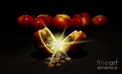 Apples With Copper Coins  Poster by Jaroslaw Blaminsky