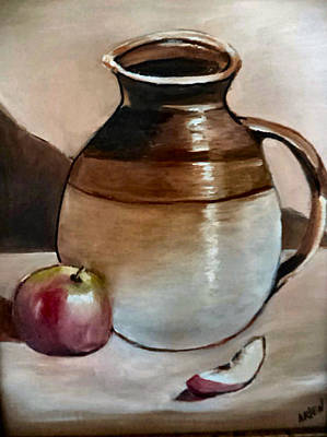 Apple With Ceramic Jug. Poster