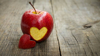 Apple With Engraved Heart Poster