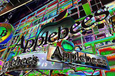 Applebee's Restaurant Sign At New York City Poster by Lanjee Chee