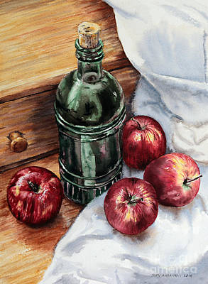 Poster featuring the painting Apples And A Bottle Of Liqueur by Joey Agbayani