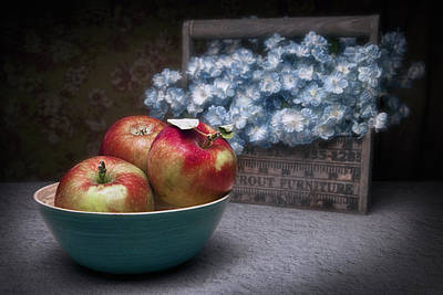 Apples And Flower Basket Still Life Poster
