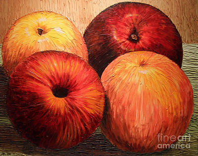 Poster featuring the painting Apples And Oranges by Joey Agbayani