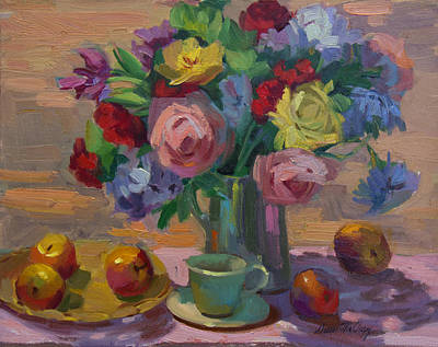 Apples And Roses Plein Air Poster by Diane McClary