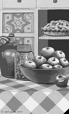 Poster featuring the digital art Apples Four Ways by Carol Jacobs