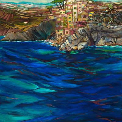 Approach To Riomaggiore Poster by Jen Norton