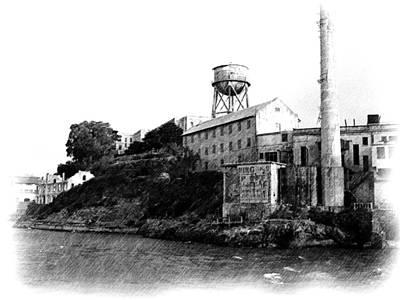 Approaching Alcatraz - Pencil Poster by Jenny Hudson