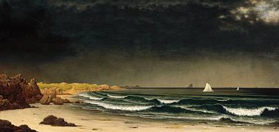 Approaching Storm. Beach Near Newport Poster by Martin Johnson Heade