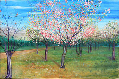 Apricot Orchard Poster