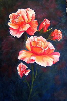 Apricot Rose Poster by Renate Voigt