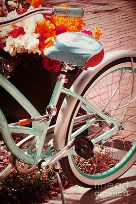 Poster featuring the digital art Aqua Bicycle by Valerie Reeves