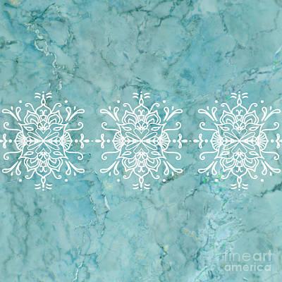 Aqua Blue Marble-royal White Poster