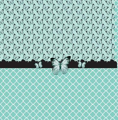 Aqua Butterflies Poster