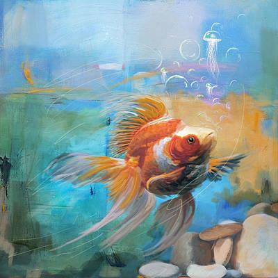 Aqua Gold Poster