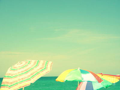 Aqua Sky With Umbrellas Poster by Valerie Reeves