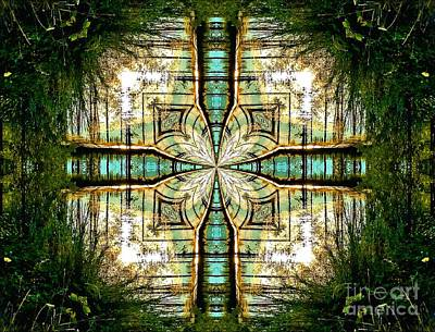 Kaleidoscope Aqua Sunrise Poster