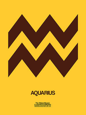 Aquarius Zodiac Sign Brown Poster by Naxart Studio