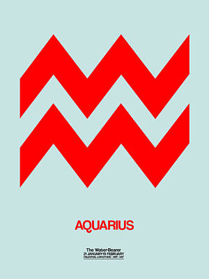 Aquarius Zodiac Sign Red Poster
