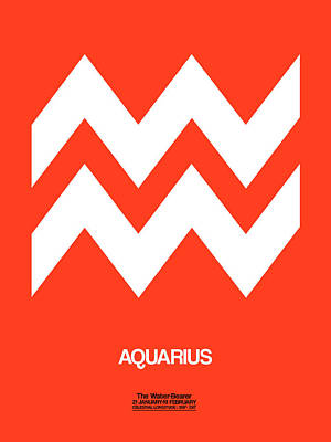 Aquarius Zodiac Sign White On Orange Poster by Naxart Studio
