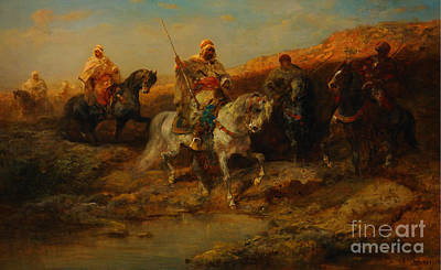 Arab Horsemen By An Oasis Poster by Celestial Images