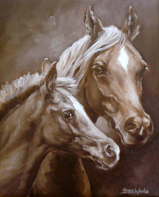 Poster featuring the painting Arab Mare And Foal by Margaret Stockdale